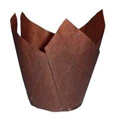 Cupcake Liner Tulip shape Brown Ø5x4,2/7,2cm