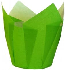 Cupcake Liner Tulip shape Green Ø5x4,2/7,2cm (135 Units)