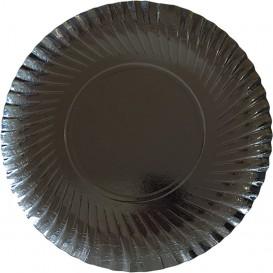 Paper Plate Round Shape Black 25cm (100 Units)