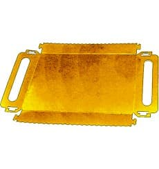 Paper Tray with Handles Rectangular shape Gold 30x12 cm