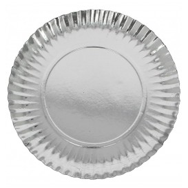 Paper Plate Round Shape Silver 18cm (100 Units)
