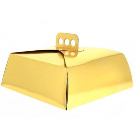 Paper Cake Box Square Shape Gold 15x22x8cm (100 Units)