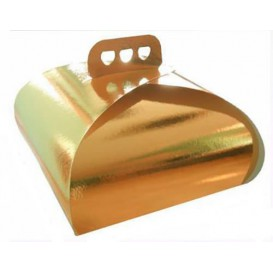 Paper Cake Box with Handle Cake Shape Gold 27,5x27,5x14cm (50 Units)