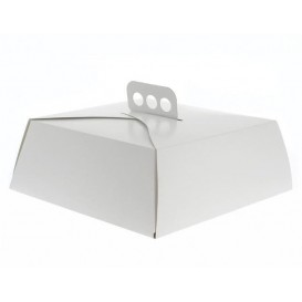 Paper Cake Box Square Shape White 24,5x24,5x10cm (100 Units)