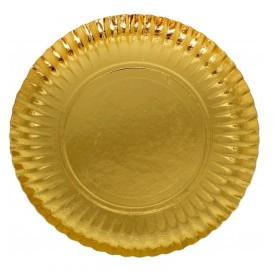Paper Plate Round Shape Gold 18cm (100 Units)