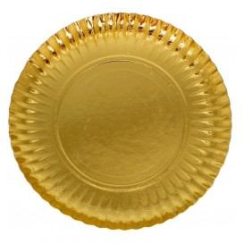 Paper Plate Round Shape Gold 25cm (100 Units)