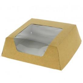 Paper Cake Box with Window Kraft 12x12x4cm (25 Units)