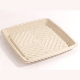 Sugarcane Tray Square Shape Natural 27x27cm (5 Units)