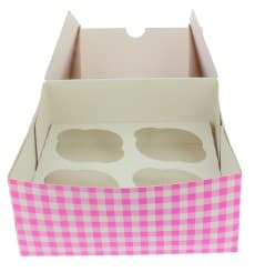 Paper Cupcake Box 4 Slot Pink 17,3x16,5x7,5cm (20 Units)