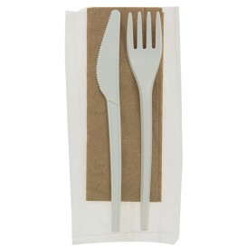 Cornstarch Cutlery Kit PLA : Fork+ Spoon + Knife + Napkin CPLA (10 Units)