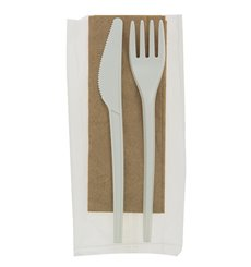 Plastic Cutlery kit CPLA Fork, Knife and Napkin (20 Units)