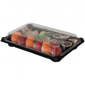 Sushi Tray and Lid PLA Black 13,0x18 cm (600 Units)
