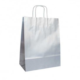 Paper Bag with Handles Kraft Silver 100g 24+12x31cm (250 Units)