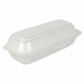 Foam Hot Dog Container White 2,10x1,05x0,64cm (125 Units)