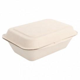"""Sugarcane Hinged Container """"Menu Box"""" 13,6x18,2x6,4cm (50 Units)"""