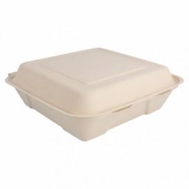 """Sugarcane Hinged Container """"Menu Box"""" 22,5x22,5x7,5cm (50 Units)"""