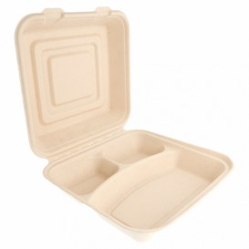 "Sugarcane Hinged Container ""Menu Box"" 3 Compartments 25x25x7,5cm (250 Units)"