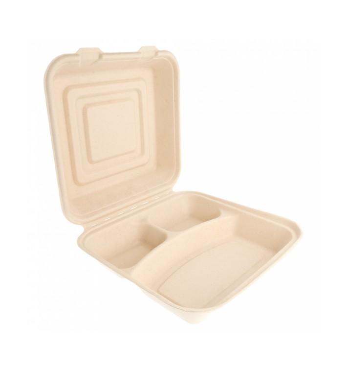 "Sugarcane Hinged Container ""Menu Box"" 3 Compartments 25x25x7,5cm (50 Units)"