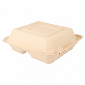 "Sugarcane Hinged Container ""Menu Box"" 3 Compartments Natural 20x20x7,5cm (200 Units)"