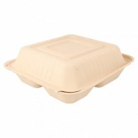 "Sugarcane Hinged Container ""Menu Box"" 3 Compartments Natural 20x20x7,5cm (200 Units)"