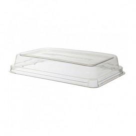 Plastic Lid Compostable PLA Clear for Sugarcane Tray Ecologic 710 and 940 ml (200 Units)