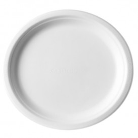 Sugarcane Plate Bagasse White Ø25,3 cm (50 Units)