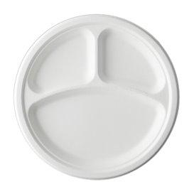 Sugarcane Plate Bagasse 3C White Ø25,3 cm (50 Units)