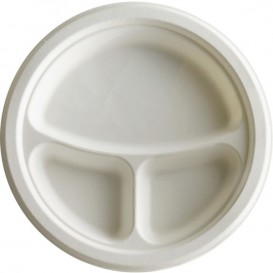Sugarcane Plate Bagasse 3C White Ø23 cm (50 Units)