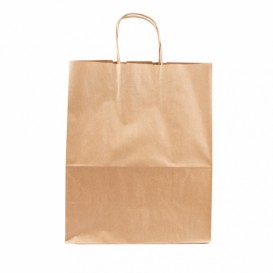 Paper Bag with Handles Kraft Brown 100g 25+13x33 cm (25 Units)