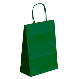 Paper Bag with Handles Kraft Green 80g 26+14x32cm (50 Units)