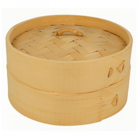 Bamboo Steamer with Lid Ø15x8cm (100 Units)