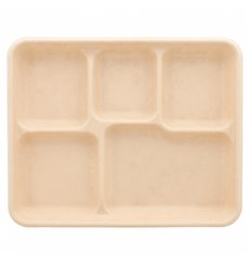 Sugarcane Tray 5C Natural 26,5x215x2cm (50 Units)