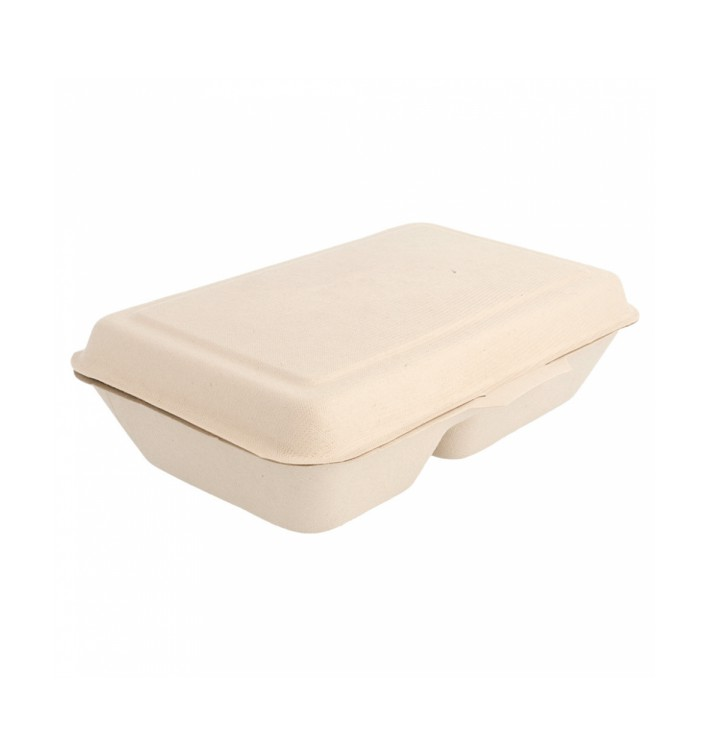 "Sugarcane Hinged Container ""Menu Box"" 2 Compartments 22,5x16,5x6,4cm (50 Units)"