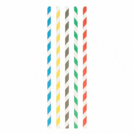 "Paper Straw Straight Assorted ""Ice Drink"" Ø0,8cm 23,5cm (100 Units)"