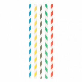 "Paper Straw Straight Assorted ""Ice drink"" Ø0,8cm 23,5cm (3000 Units)"