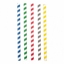"Paper Straw Straight Assorted ""Ice drink"" Ø1cm 21cm (2400 Units)"