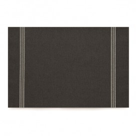 "Cotton Placemat ""Day Drap"" Black 32x45cm (12 Units)"
