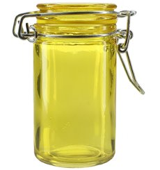 Glass Storage Jar Airtight Yellow 70ml Ø4,5x8cm (32 Units)