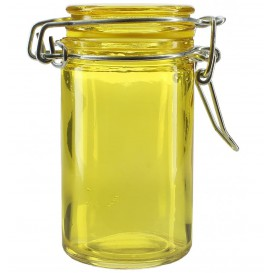 Glass Storage Jar Airtight Yellow 70ml Ø4,5x8cm (8 Units)