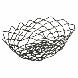 Basket Containers Steel Oval Shape Black 24x15,2x7cm (6 Units)