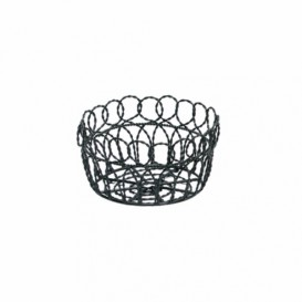 Basket Containers Steel Round Shape Black Ø19x10cm (6 Units)