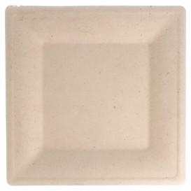 Sugarcane Plate Square shape Natural 26,2x26,2 cm (50 Units)