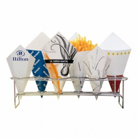 Serving Basket Containers 6 Cones Steel 45x14x10,8cm (16 Units)