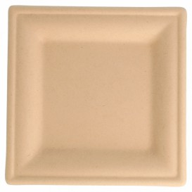Sugarcane Plate Square shape Natural 16x16 cm (50 Units)