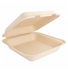 "Sugarcane Hinged Container ""Menu Box"" Natural 20x20x7,5cm (50 Units)"
