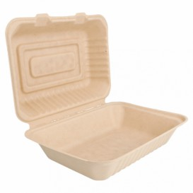 "Sugarcane Hinged Container ""Menu Box"" Natural 22,5x16,5x6,4cm (50 Units)"