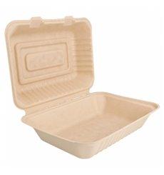 "Sugarcane Hinged Container ""Menu Box"" Natural 22,5x16,5x6,4cm (50 Units)"