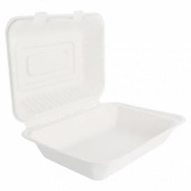"""Sugarcane Hinged Container """"Menu Box"""" White 22,5x16,5x6,4cm (50 Units)"""