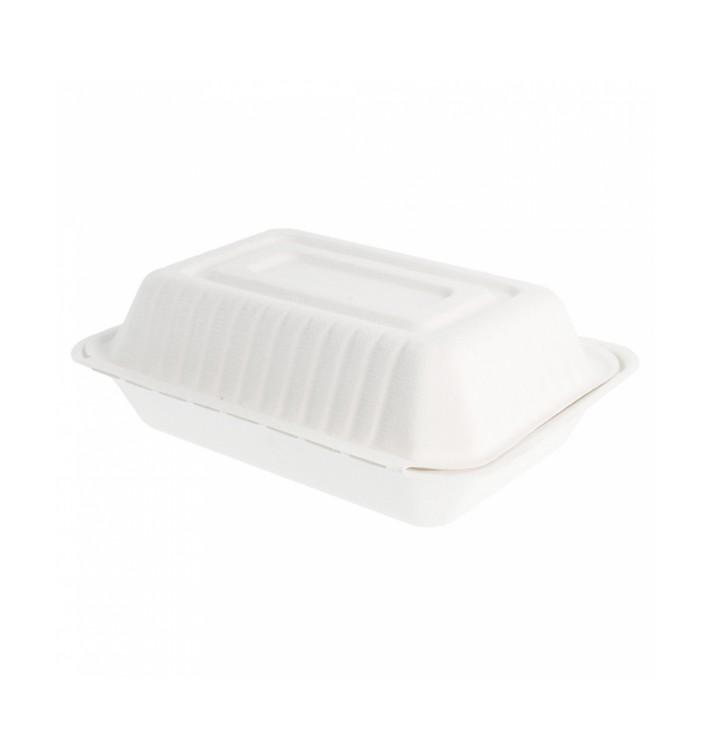 """Sugarcane Hinged Container """"Menu Box"""" White 22,5x16,5x6,4cm (200 Units)"""