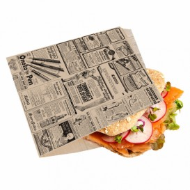 "Paper Food Bag Grease-Proof Opened L Shape ""Times"" 16x16,5cm (500 Units)"